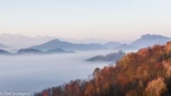 Jesienne mgły nad Szczawnicą z drogi na Bereśnik
